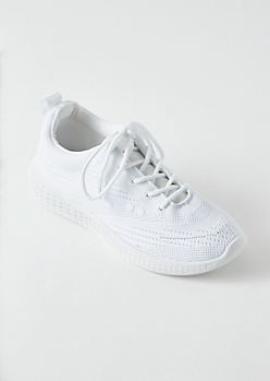White Knit Lace Up Trainers