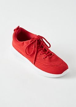 Red Knit Lace Up Trainers