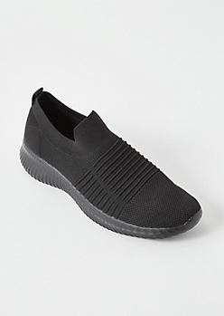Black Lightweight Slip On Trainers