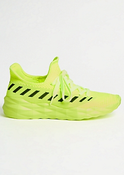 Neon Yellow Striped Texture Trainers