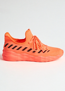 Neon Coral Striped Texture Trainers