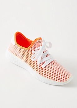 Orange Mesh Trainers