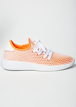 Neon Orange Mesh Trainers
