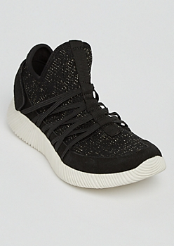 Black Metallic Knit Trainers