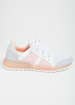 Pink Striped Gel Sole Trainers