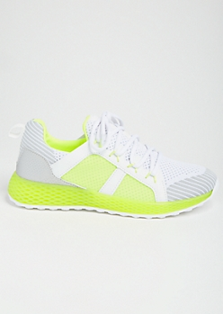 Neon Yellow Striped Gel Sole Trainers