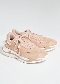Rose Gold Reflective Dad Sneakers