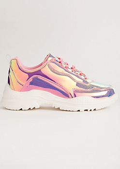 Pink Iridescent Metallic Dad Sneakers