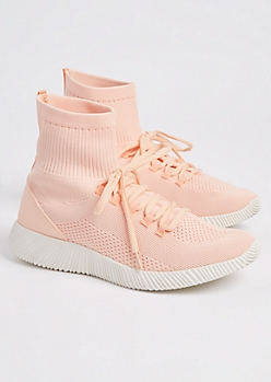 Light Pink Knit High Top Trainers