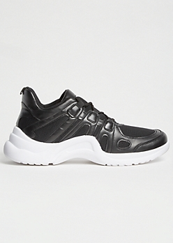 Black Mesh Arch Dad Sneakers