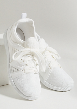White Honeycomb Side Knit Sneakers