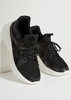 Black Elastic Strap Knit Sneakers