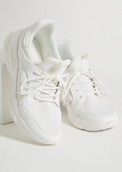 White Elastic Strap Knit Sneakers