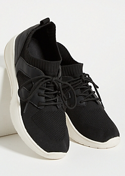 Black Mesh Low Top Sock Trainers