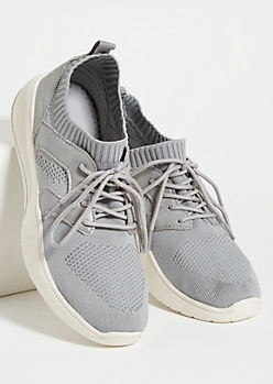 Gray Mesh Low Top Sock Trainers