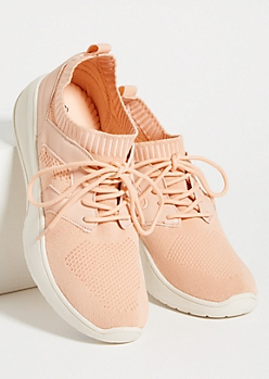Pink Mesh Low Top Sock Trainers