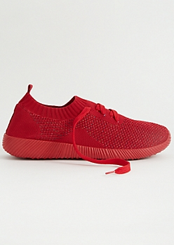 Red Lightweight Knit Low Top Sock Trainers