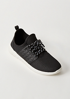 Black Mesh Knit Textured Trainers