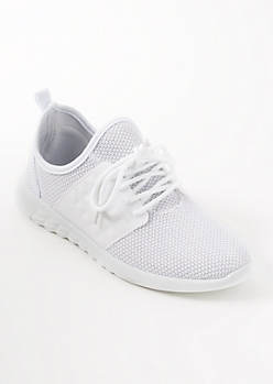 White Mesh Knit Textured Trainers