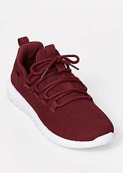 Burgundy Low Top Lace Up Trainers