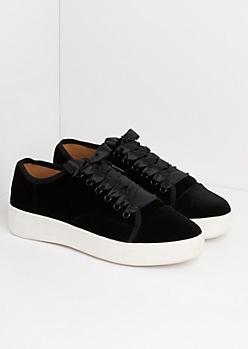 Black Velvet Flatform Sneakers