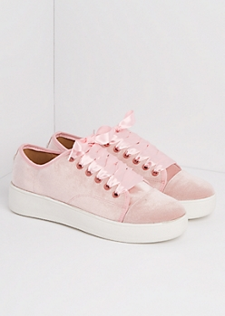 Pink Velvet Flatform Sneakers