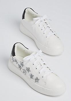 White Glitter Star Sneakers