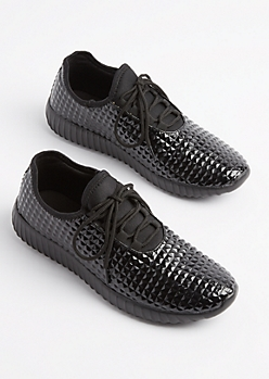 Black Geo Textured Sneakers