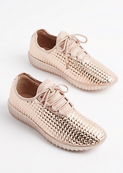 Rose Gold Geo Textured Sneakers