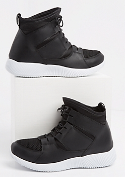 Black Faux Leather High Top Sneakers