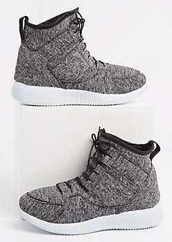 Gray Marled Knit High Top Sneakers