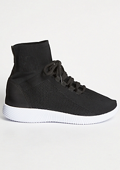 Black High Top Knit Sneakers