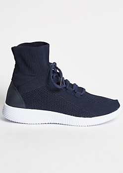 Navy High Top Knit Sneakers