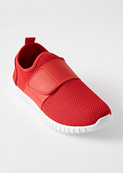 Red Faux Leather Strap Slip On Sneakers