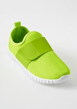 Neon Yellow Faux Leather Strap Slip On Sneakers