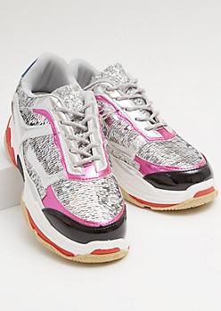 Silver Sequin Metallic Dad Sneakers