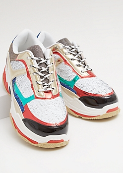 White Sequin Rainbow Metallic Dad Sneakers