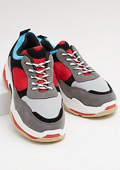 Gray Mesh Colorblock Faux Suede Dad Sneakers