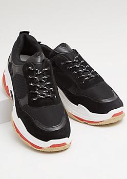 Black Mesh Colorblock Faux Suede Dad Sneakers