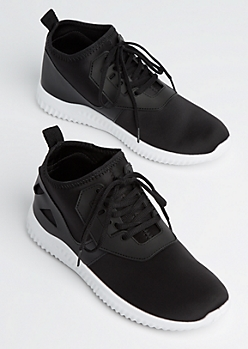 Black Geo Faux Leather Trainers