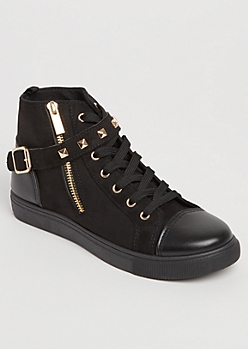 Faux Suede Buckled Moto Sneakers