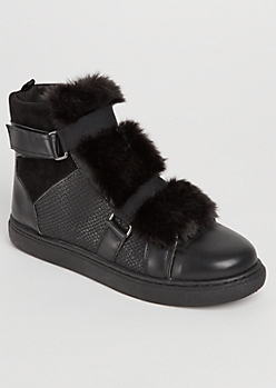 Black Faux Fur Tongue High Top Sneakers