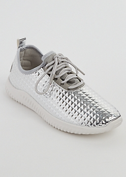 Silver Diamond Cut Trainers