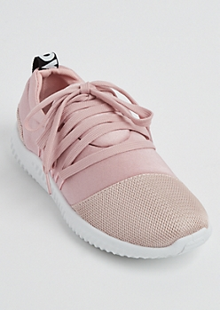 Pink Crisscross Lace Up Trainers
