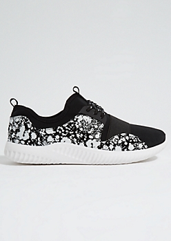 Black Paint Splattered Elastic Band Trainers