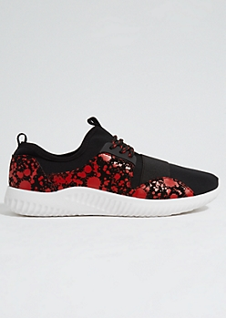 Red Paint Splattered Elastic Band Trainers