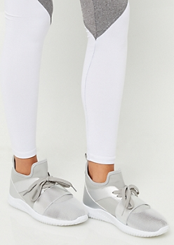 Silver Metallic Color Block Band Trainers