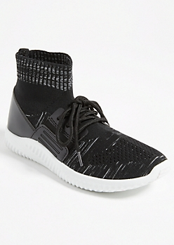 Black Heathered High Top Sock Trainers