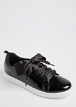 Black Faux Patent Leather Sneakers