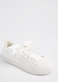 White Faux Patent Leather Sneakers
